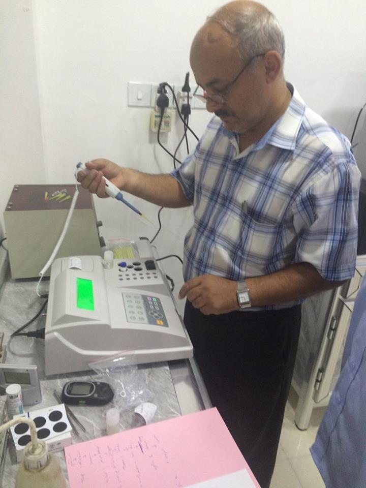 AL-MUBDAA Scientific Company in al-Kawthar lab. THROMBO Semi Automated Coagulation analyzer